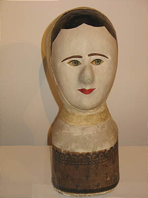 Accessories<br>Accessories Archives<br>SOLD   A French Papier Mache Milliner's Head or Wig Stand