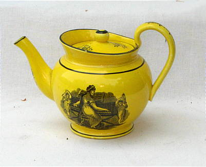 Accessories<br>Archives<br>SOLD   Canary Teapot with Adam Buck Style Transfer