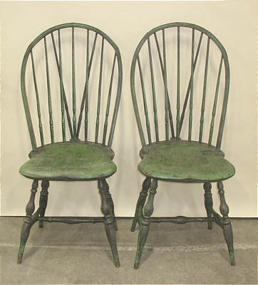 Furniture<br>Furniture Archives<br>SOLD  Pair of Rhode Island Braced Back Windsor Side Chairs