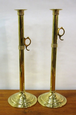 Metalware<br>Archives<br>SOLD   Pair of Tall Brass Candlesticks with Pushups