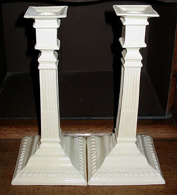 Accessories<br>Archives<br>SOLD  A Pair of 18th Century Creamware Candlesticks
