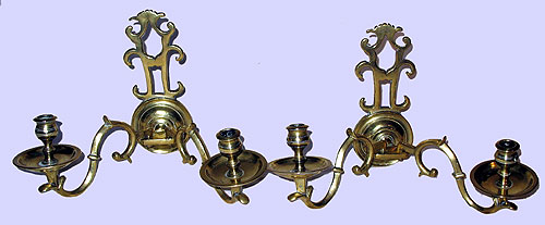 Metalware<br>Archives<br>SOLD A Pair of Brass Double Arm Sconces
