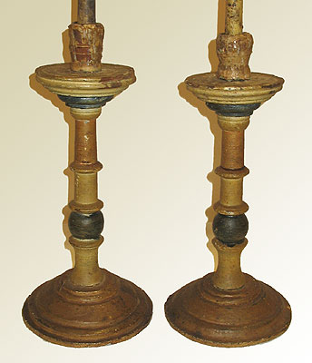 Accessories<br>Accessories Archives<br>SOLD A Pair of 18th Century Wooden Candlesticks
