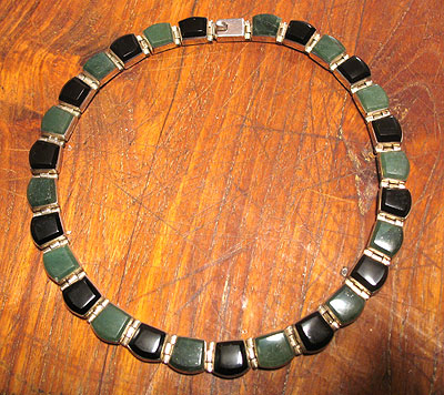 Jewelry<br>SOLD  Onyx and Green Stone Necklace