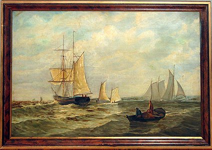 Paintings<br>Archives<br>A Marine painting of sailboats.