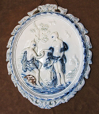 Ceramics<br>Ceramics Archives<br>SOLD  Pearlware Plaque of Paris and Oenone
