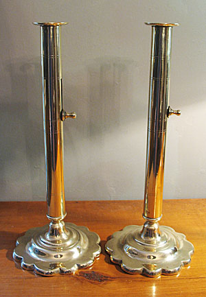 Metalware<br>Archives<br>SOLD  Unusual Pair of Queen Anne Candlesticks