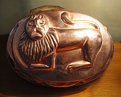 Metalware<br>Archives<br>SOLD  A Rare Copper Lion Mold