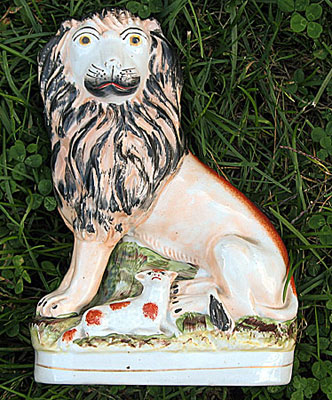 SOLD  Staffordshire Lion (and Lamb)