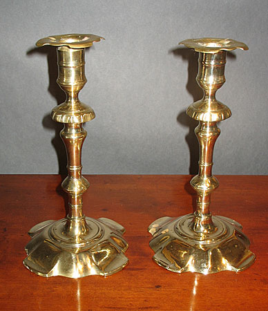 Metalware<br>Archives<br>SOLD  Pair of Queen Anne Petal Base Candlesticks