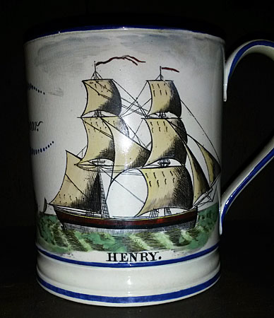 Ceramics<br>Ceramics Archives<br>SOLD  Creamware mug with great decoration.