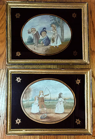 Accessories<br>Textiles<br>Pair of silk needlework pictures of children playing
