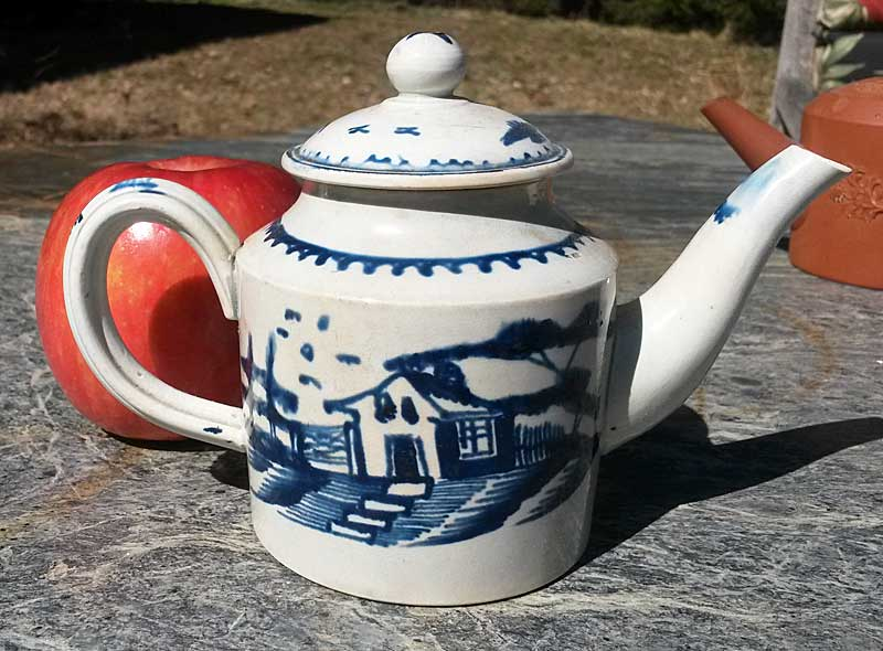 Ceramics<br>Ceramics Archives<br>SOLD   Small Pearlware blue and white teapot.