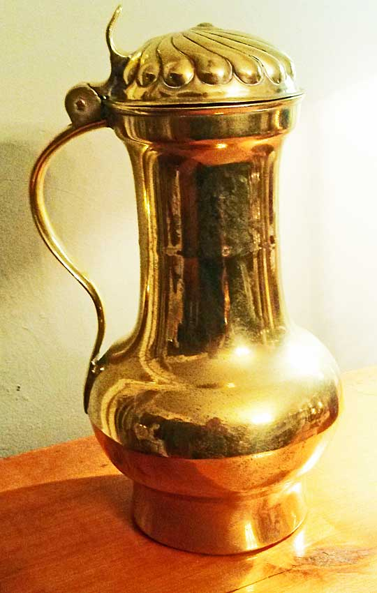 Metalware<br>Archives<br>Continental Brass Tankard with Cover