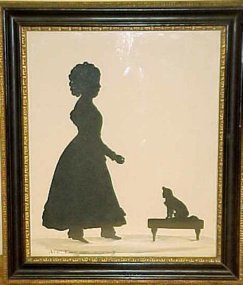 Accessories<br>Accessories Archives<br>SOLD   Edouart silhouette of young girl and her dog.
