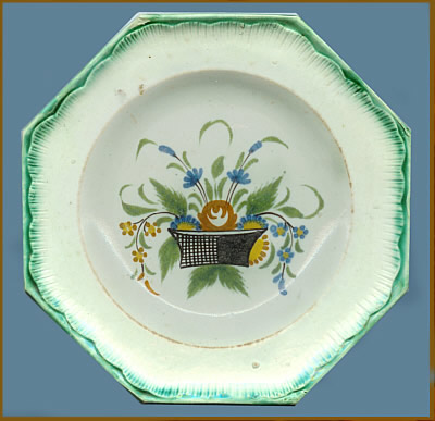 Ceramics<br>19th Century<br>Octagonal Plate with Hand-Painted Flower Basket