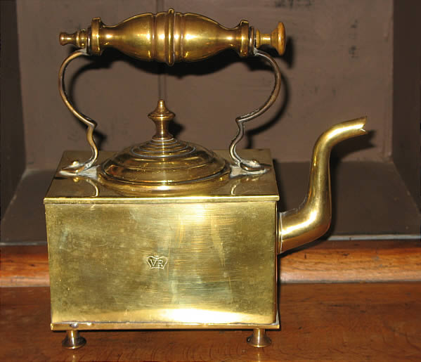 Metalware<br>Archives<br>Square brass kettle VR (very rare?)