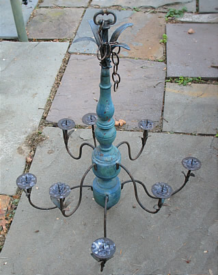 Metalware<br>Archives<br>Wrought Iron and Wood Chandelier