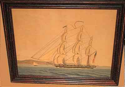 Paintings<br>Archives<br>Watercolor of an American ship