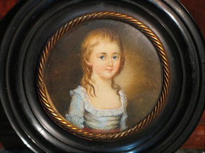 Paintings<br>Archives<br>SOLD  Charming Portrait Miniature of a Child