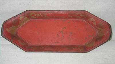 Metalware<br>Archives<br>A Tole Tray with Cut Steel Wick Cutter or Snuffer