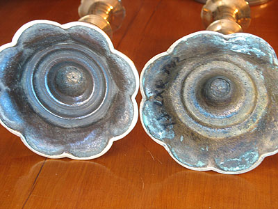 Metalware<br>Archives<br>SOLD  A Fine Pair of Queen Anne Petal Base Candlesticks
