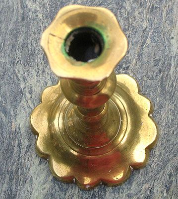 Metalware<br>Archives<br>SOLD  A Queen Anne Petalbase Brass Taperstick