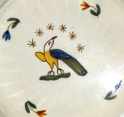 Ceramics<br>19th Century<br>Folky Pearlware Saucer with American Eagle