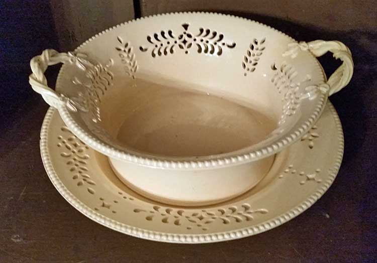 Ceramics<br>Ceramics Archives<br>Rare small pierced creamware basket and stand