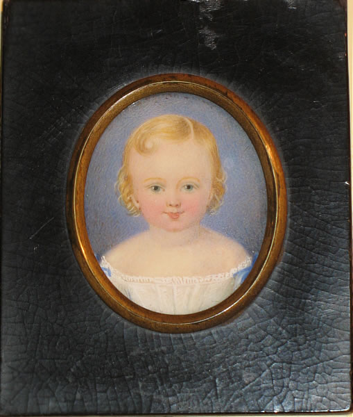 Paintings<br>Archives<br>LOVELY MINIATURE PORTRAIT ON IVORY OF A YOUNG CHILD
