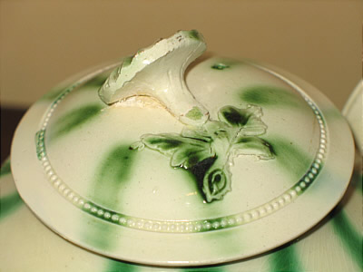 Accessories<br>Archives<br>SOLD   Creamware Teapot with green stripes