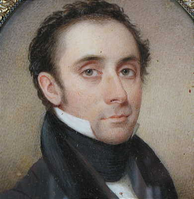 Paintings<br>Archives<br>Portrait Miniature on Ivory of a  Handsome Gentleman