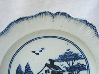 Ceramics<br>Ceramics Archives<br>SOLD  Pearlware Plate with Chinese House Decoration
