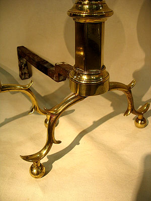 Metalware<br>Archives<br>SOLD  A Pair of Double Lemon Andirons