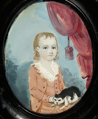 Paintings<br>Archives<br>Miniature Portrait on Ivory of a Boy and His Kitty