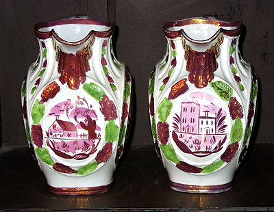 Accessories<br>Archives<br>SOLD  A Rare Pair of Pink Lustre Jugs