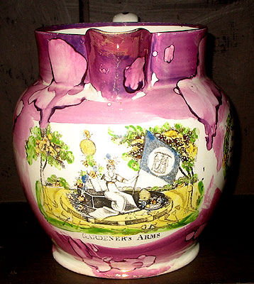 Ceramics<br>Ceramics Archives<br>SOLD  The Gardeners Arms Lustre Jug