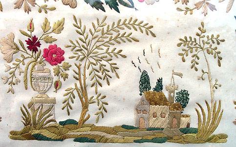 Accessories<br>Textiles<br>A Silk Needlework on Paper