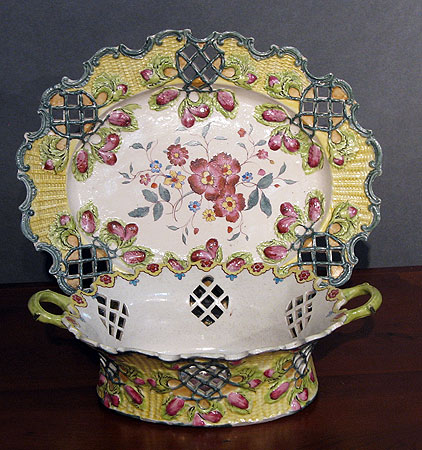 Ceramics<br>Ceramics Archives<br>SOLD  Enameled Saltglaze Basket and Stand