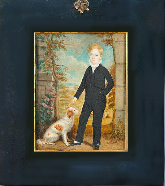 Just In<br>Large Miniature of Boy with Dog