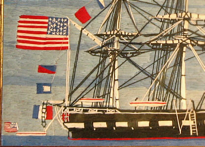 Accessories<br>Accessories Archives<br>SOLD   Wool Boat Picture with Many American Flags