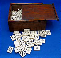 SOLD   Box of Bone or Ivory Letters