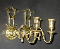 A Pair of 18th Century Brass Sconces