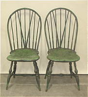 SOLD  Pair of Rhode Island Braced Back Windsor Side Chairs