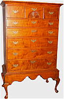 SOLD  Tiger Maple Chest on Frame