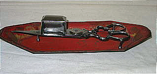 A Tole Tray with Cut Steel Wick Cutter or Snuffer