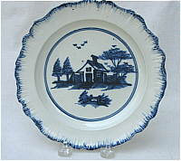 SOLD  Pearlware Plate with Chinese House Decoration