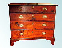 SOLD  A Curly Maple Chippendale Chest