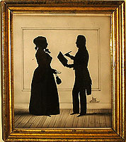 A Silhouette by August Edouart of Samuel and Abigail Groves