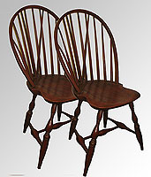 SOLD  A Matched Pair of c. 1790 Bowback  Windsor Side Chairs.